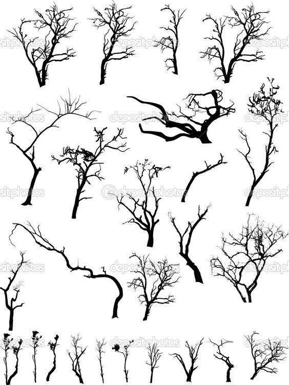 raccolta di alberi morti inquietanti sagome - Illustrazione Stock: 6126195