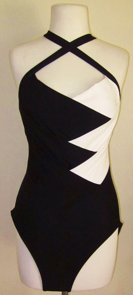Vintage-Black and White-One Piece Bathing Suit-L | One ...