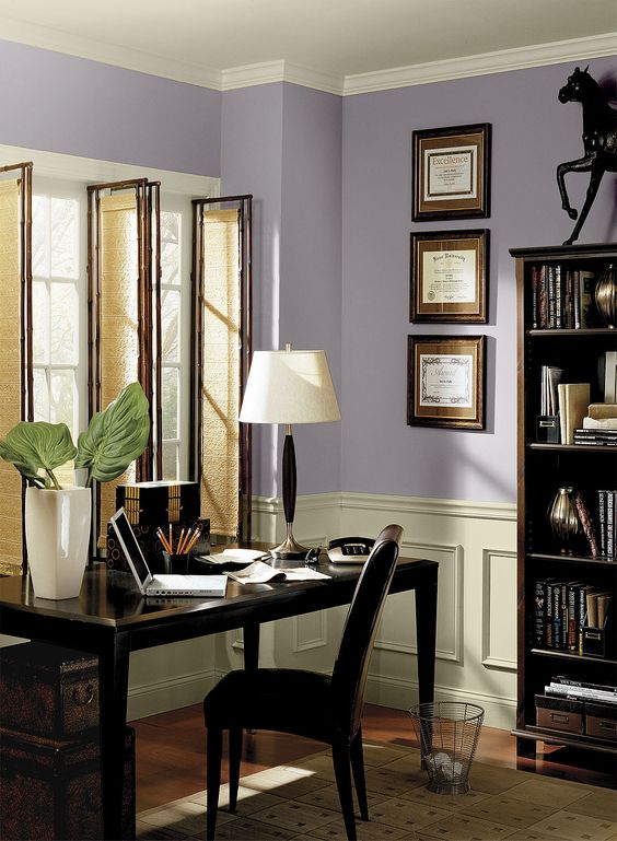 Paint colors wisteria and carbon copy on pinterest for Office paint ideas