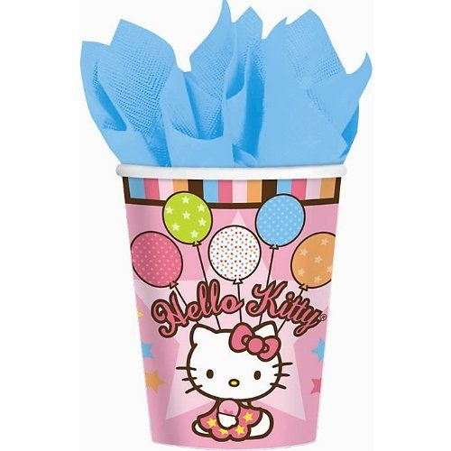Amscan Hello Kitty Balloon Dreams 9-Ounce Paper Cups, 8-Count