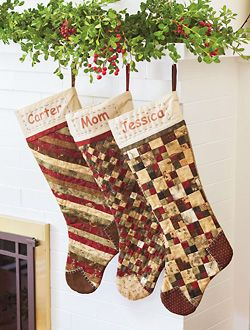 Make stockings for the whole family using one basic shape, and choose from eight different patchwork designs for the front.