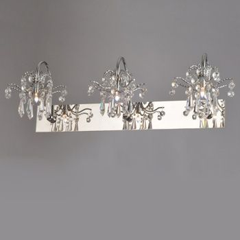 Ovida chrome crystal bath vanity light bathrooms pinterest bath vanities crystals and lights for Crystal bathroom vanity light fixtures