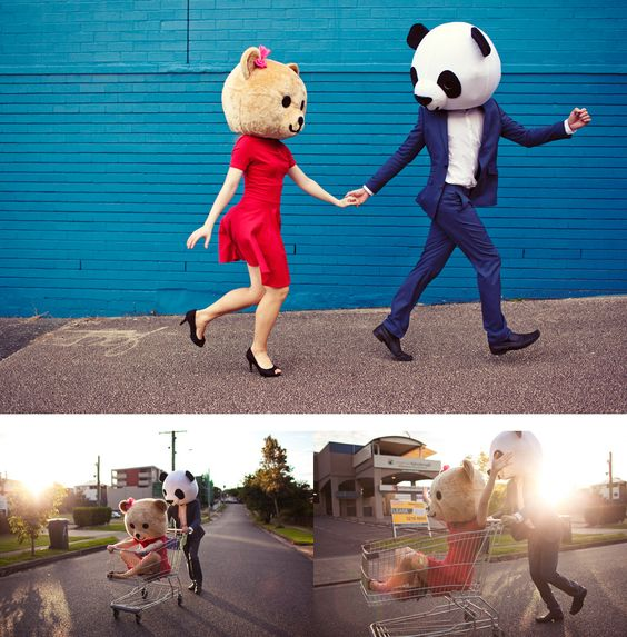 Adorable engagement photos by You Can't Be Serious. #furries #animalheads #fun #panda #costume
