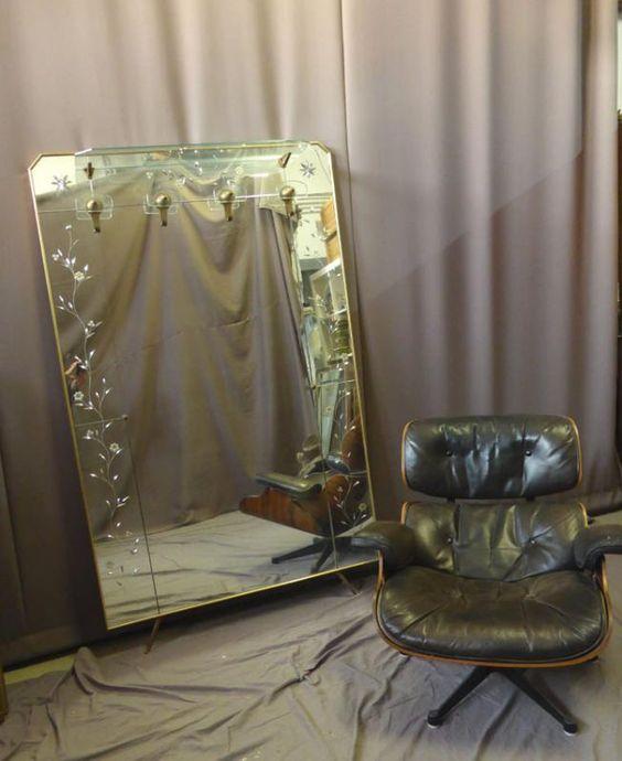 Grand porte-manteaux miroir vintage  Philippe Cote Antiquites ...