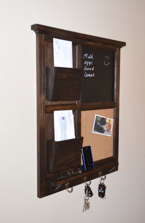Walnut stained chalkboard cork board with two mail for Cork board organizer