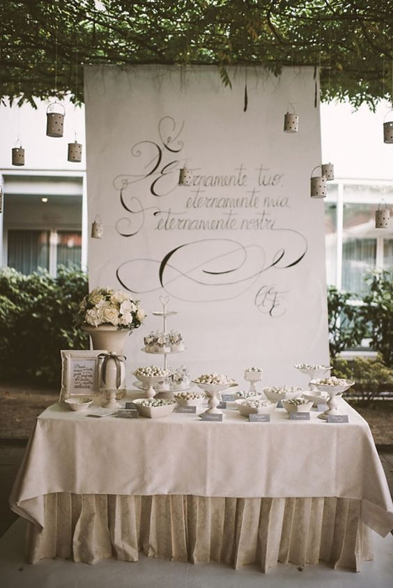 handwritten sweet table backdrop // photo: serena cevenini http://weddingwonderland.it/2015/03/matrimonio-romantico-orchidee.html