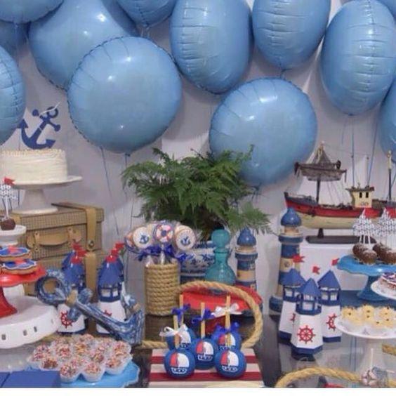 Festa Navy ⚓️🛳⚓️ . 💙💙💙 Decoração Linda !!! Por @rowenavale.party #festademenino #temanavy #navy #festanavy #umbocadinhodeideias #umbocadinhoIndica #temanautico #náutico