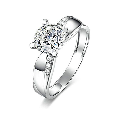 Daesar Sterling Silver Rings Wedding Bands for Women Round Silver