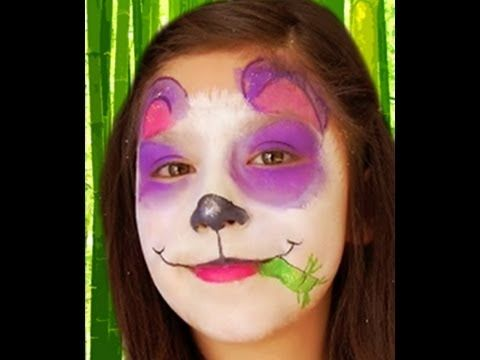 Purple Panda Face Paint Design Video Tutorial