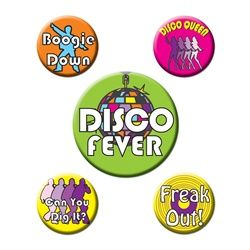 Slip on your platforms and pick out that fro because you're about to get down tonight with these Disco Party Buttons! These funky disco themed buttons (five per package) make great accessories for anyone to wear at a 70s themed disco party and each button represents a popular catch phase of the era