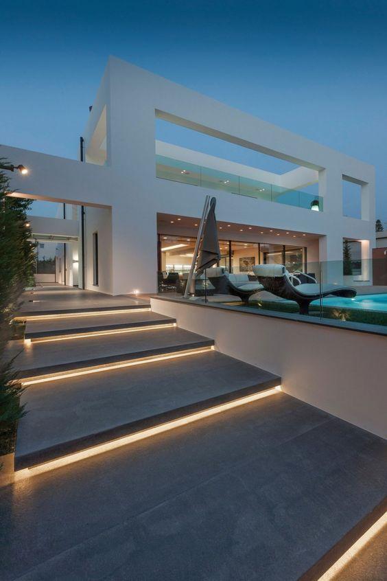 casas modernas iluminacion de escaleras escaleras iluminadas iluminacion interiores escalones entrada escalones exterior terraza mejores sexy