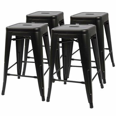 Williston Forge Lehman Stackable 24 Bar Stool Metal Bar Stools