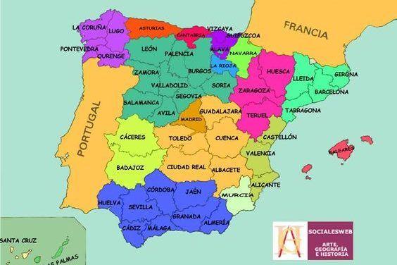Juegos Y Actividades Para Niños Fiestas Y Cumples Mapa De España Provincias España Mapa Fisico De España