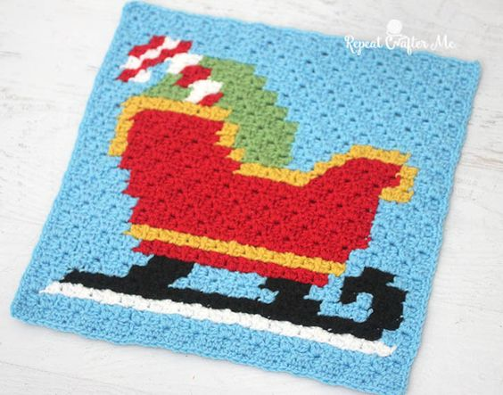 Crochet Sleigh Pixel Square (Repeat Crafter Me)   Patrones, Croché y ...