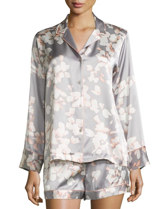 Azalea Printed Shorty Pajama Set, Grey Floral, Women's, Size: M - Natori