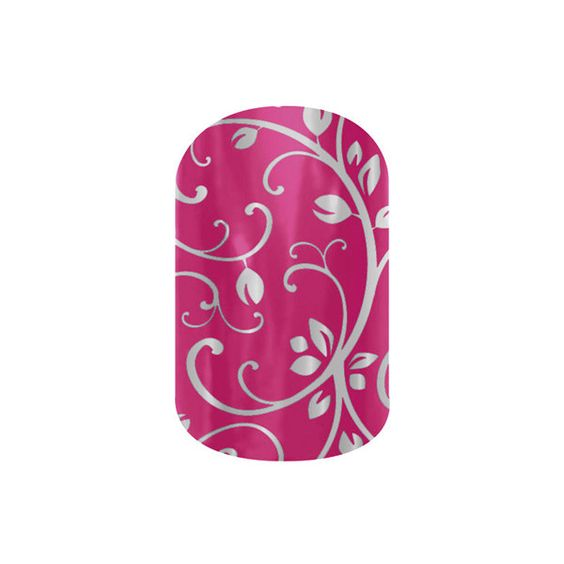 Jamberry Nail Wraps ($15) ❤ liked on Polyvore featuring beauty products, nail care, nail treatments, silver floral on magenta, jamberry, nails, nail wrap and floral
