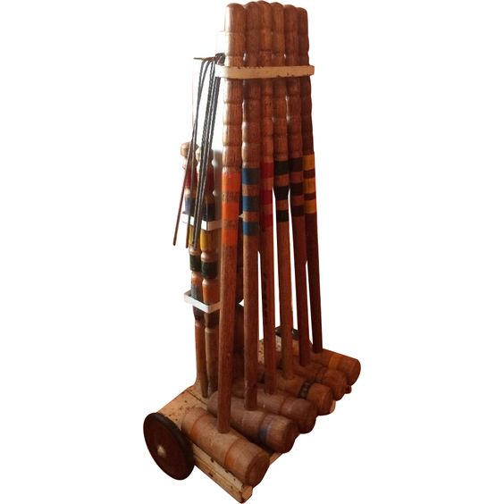 Croquet Set Vintage Complete Wood 6 Player With Stand