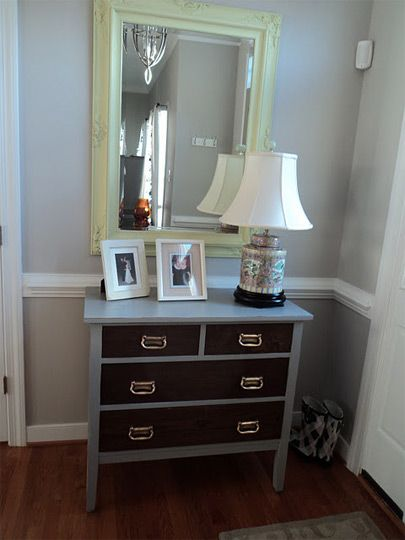 Stained drawer fronts but painted frame. Could be cool on a old dresser!