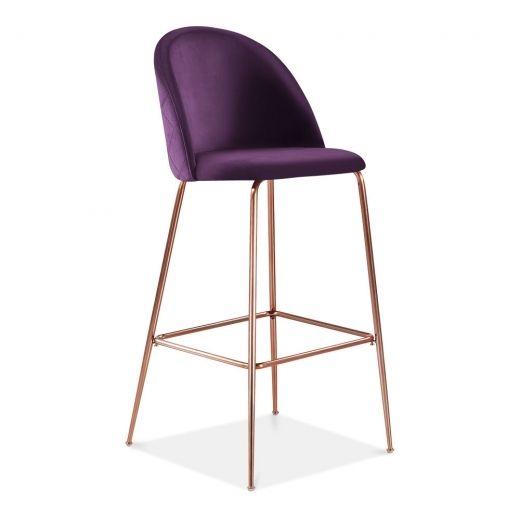 Heather Bar Stool With Backrest Velvet Upholstered Plum Purple 75cm Bar Stools Velvet Stool Kitchen Bar Stools