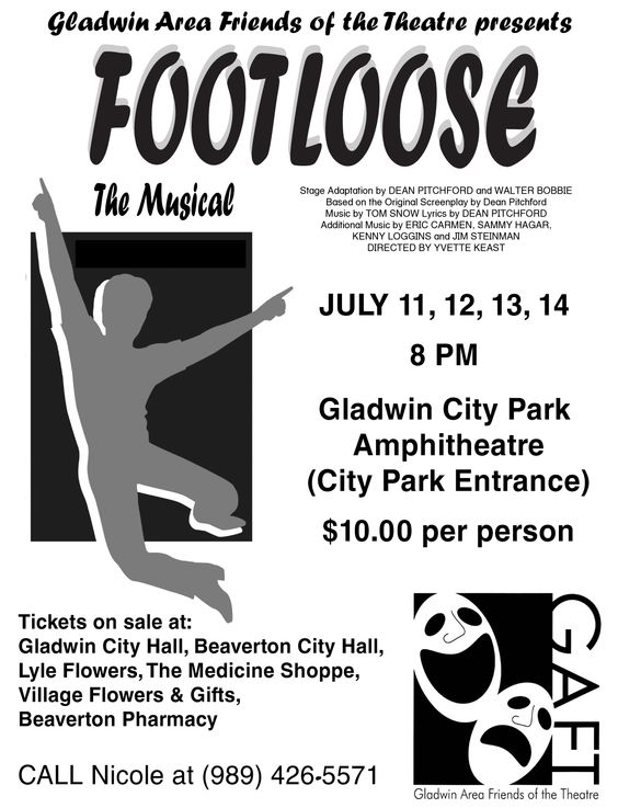 Gladwin Area Friends of the Theatre present Footloose live on stage at 8 p.m. on July 11-14 and the Gladwin (MI) City Park Amphitheatre (City Park Entrance.)