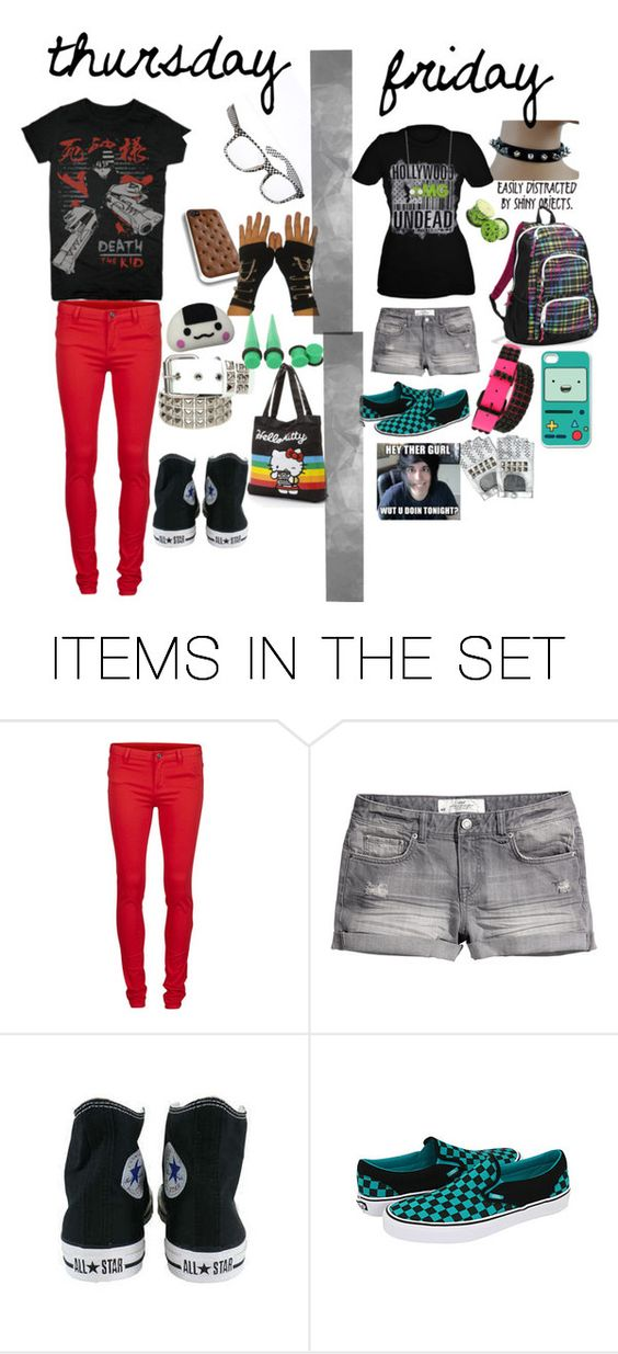 """thursday and friday school outfit of the day :D"" by xxrainbowgashesxx ❤ liked on Polyvore featuring art"
