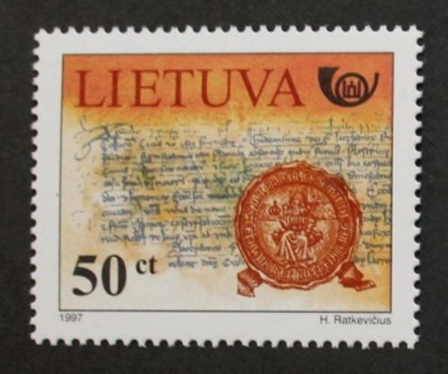 674th anniversary of Letters of invitation stamp, 1997, Lithuania - invitation letters