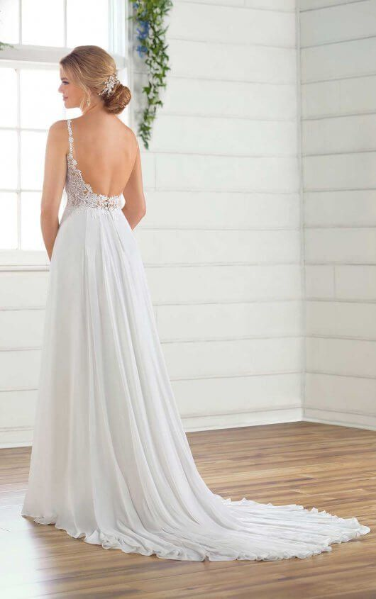 Casual Wedding Dress With Crepe Chiffon Skirt Wedding Dresses Essense Of Australia Wedding Dresses Casual Wedding Dress
