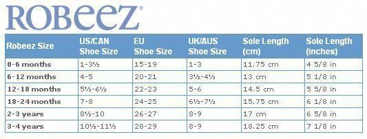 Baby shoe size chart, Robeez baby shoes