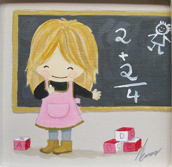Aida Zamora - Art for kids. Custom paint. Cuadro infantil personalizado. The teacher.