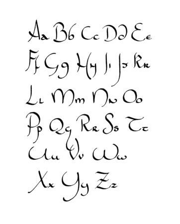 """Calligraphy Invented:  """"Here is a beautiful calligraphy which has the merit of being simple. This is... a mixture of uncial and Hebrew."""