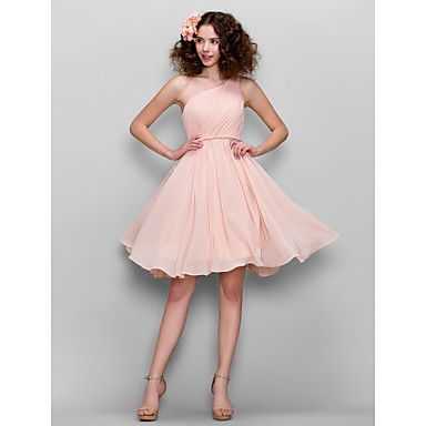 Honeymoon / Cocktail Party / Formal Evening / Sweet 16 Dress - Blushing Pink Plus Sizes / Petite A-line One Shoulder Knee-length Chiffon – USD $ 79.99