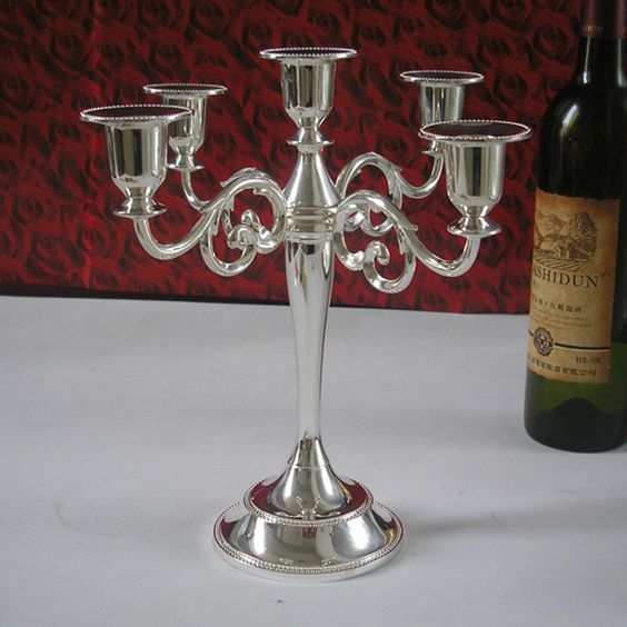 Silver Toned 5-Branch Candelabra