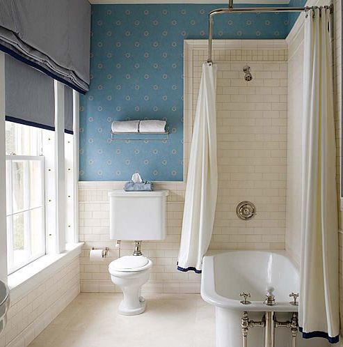 Tuck a nice tub into the old tub shower combo space for Clawfoot tub and shower combo