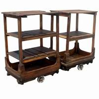 antique french wood leather industrial rolling  cart