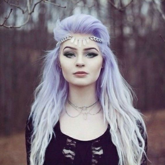 Pastel purple hair - to achieve this colour, lighten to pale yellow and then over-tone with violet...