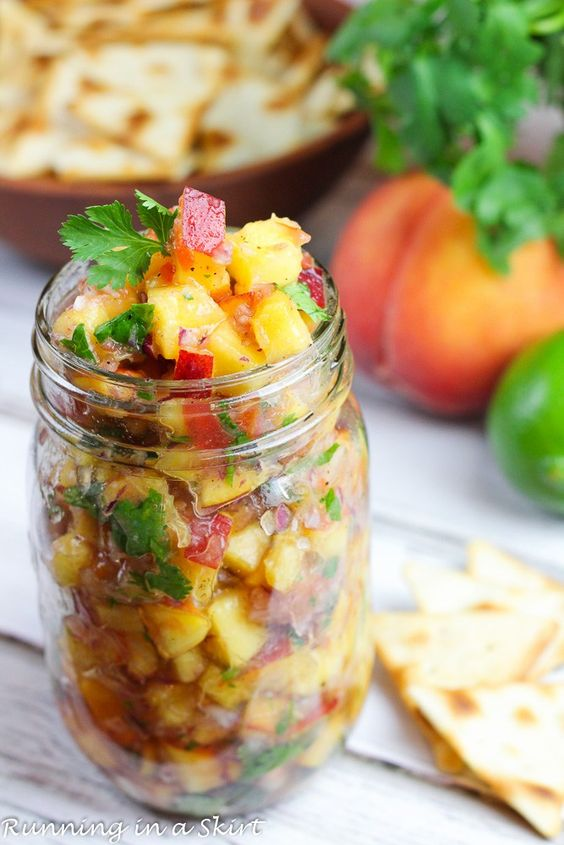 The Best Fresh Peach Salsa recipe. This 6 Ingredient simple, easy and healthy fruit salsa is perfect for summer. Uses lime juice, cilantro, jalapeno and a tomato. Uses include a homemade dip with chips for an appetizer or a topping for grilled fish like salmon or tilapia, shrimp or tacos for dinner. No cooking required! Vegan and gluten free. / Running in a Skirt