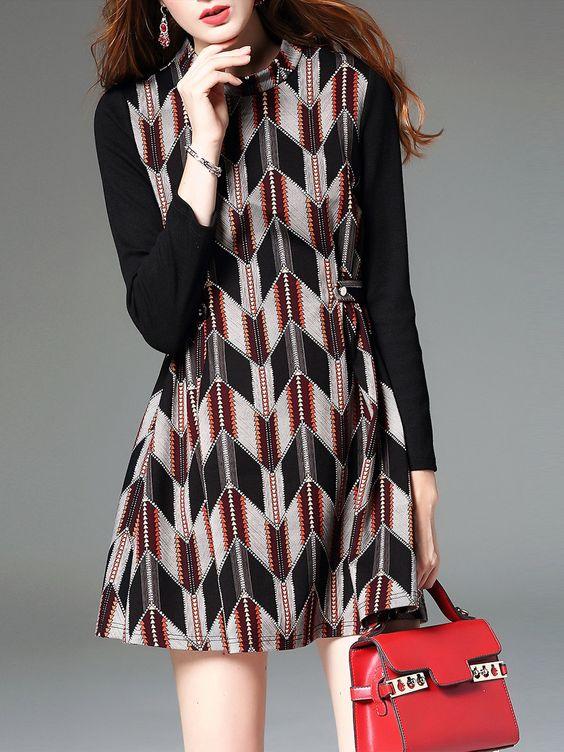 Multicolor Long Sleeve Buttoned A-line Cotton Mini Dress - AdoreWe.com