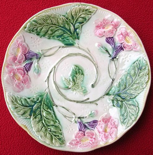 Antique French Onnaing Majolica Flowers Leaves Plate C 1900 | eBay 140.00