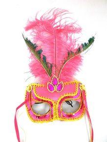 Hot Pink Gem Venetian Fabric Feather Masquerade Mask