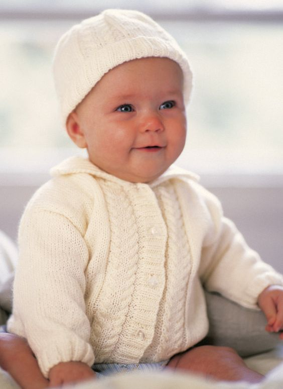Chunky Knit Baby Cardigan Pattern Free : Alex Cardigan, Hat and Bootees in Patons Fairytale Soft 4 Ply - 3246. Discove...