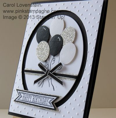 STAMP: Sketched Birthday PAPER: Basic Black, Whisper White, Glimmer Silver INK: Stazon Jet Black, Versamark MISC.: Punch-Small Oval; Magnetic Platform & Framelits-Ovals Collection; Perfect Polka Dots Embossing Folder; Clear Embossing Powder; Basic Black 1/8″ Taffeta Ribbon; White Gel Pen