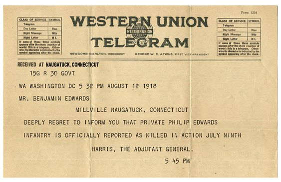 War Department Telegram Announcing the Death of Philip Edwards Appears to Be in Error