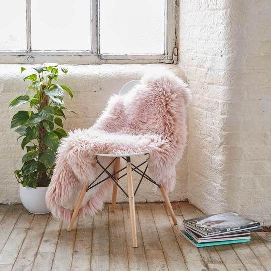 Heavenly Pink Sheepskin Rug Large