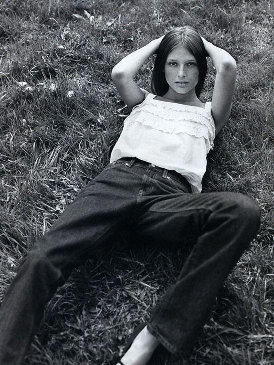 Bridget Hall in Harper's Bazaar, July 1998