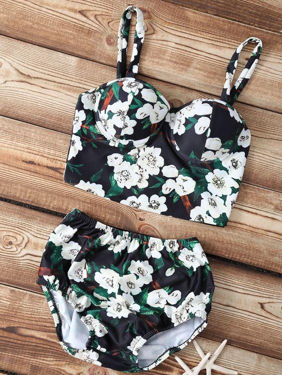 Floral Print Straps High Waisted Bikini Set