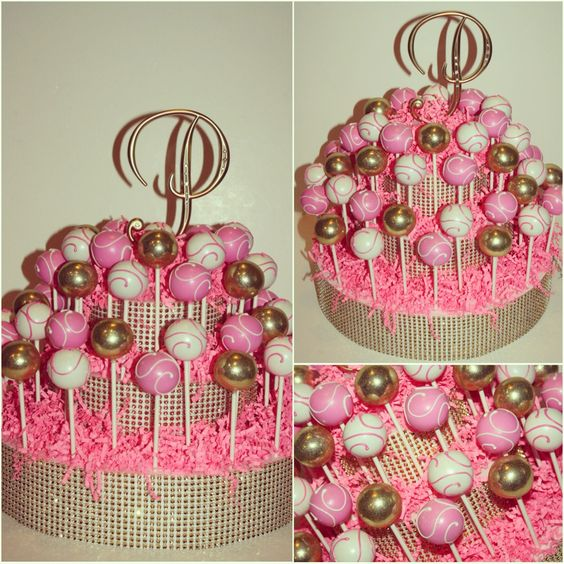 Pink, white and gold gem cake pops