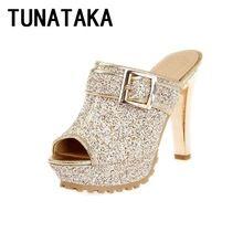Tunataka cequis brillantes Peep Toe zapatillas de verano tacones altos femeninos cinturón de hebilla gruesa tacones altos mujeres sandalias(China (Mainland))