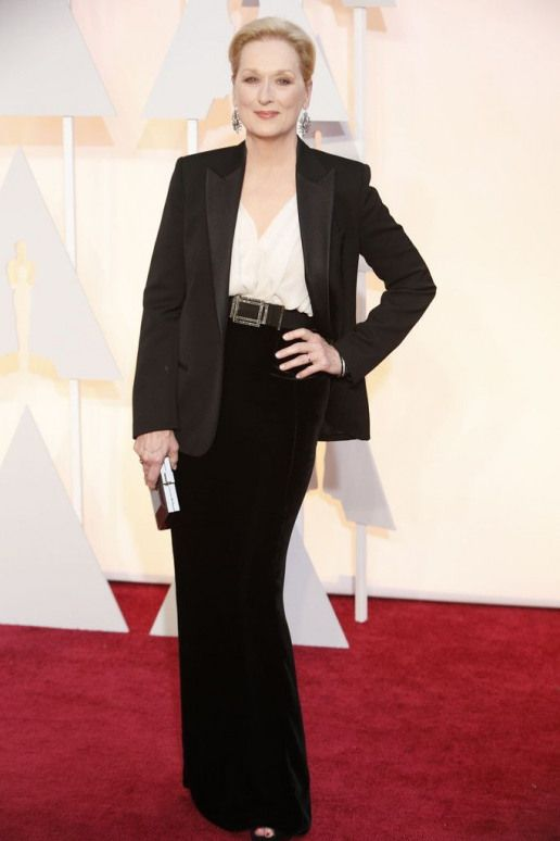 """Meryl Streep in Lanvin at The Oscars 2015. The """"Into the Woods"""" star was nominated for Best Actress in a Supporting Role. Click to see more of our editors' favorite red carpet looks from the 87th Academy Awards. (Photo: Noel West for The New York Times) #merylstreep #meryl #streep #into #the #woods"""