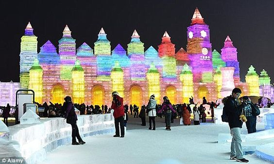 The palaces and sculptures are made from hollow blocks of ice and lit up using LED lights ...