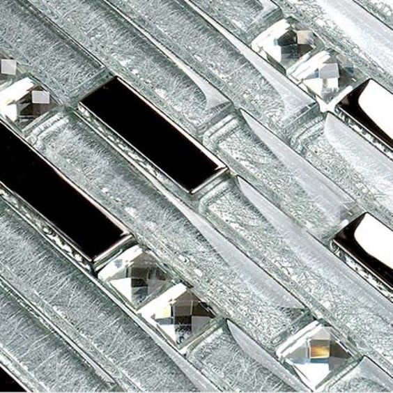 Crystal Glass Metal Mosaic Tiles Kitchen Backsplash Stainless Steel Tile Bathroom Glass Diamond Wall Tile Floor Design